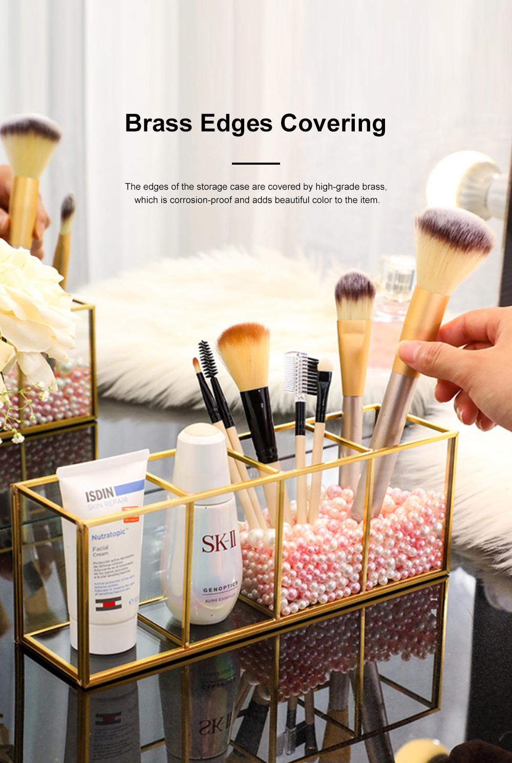 Stylish Minimalist Transparent Glass Desktop Storage Rack Jewelry Cosmetics Brushes Storage Case Box Household 4