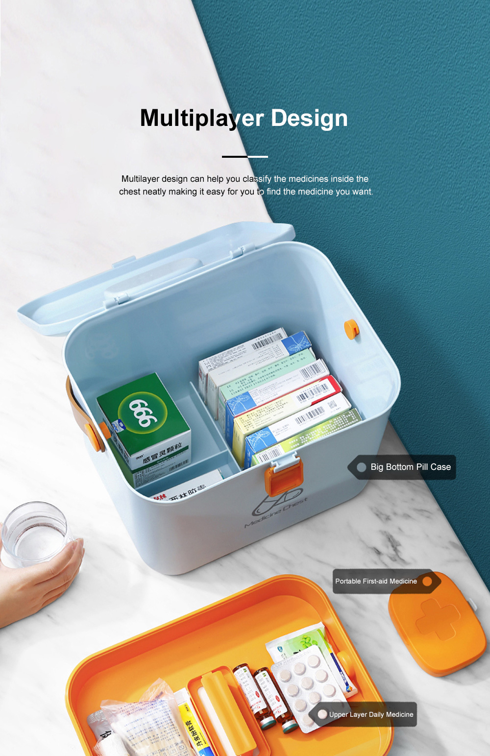 Large Capacity Portable Multilayers Household Medicine Cabinet Chest First-aid Pill Case Storage Box with Leather Handle 6