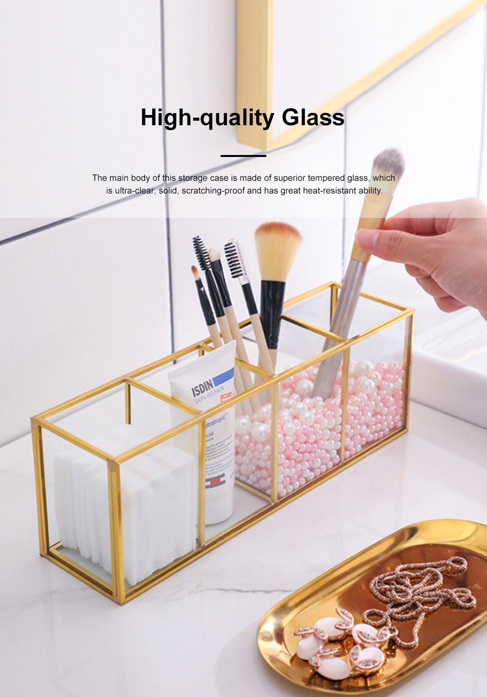 Stylish Minimalist Transparent Glass Desktop Storage Rack Jewelry Cosmetics Brushes Storage Case Box Household 5