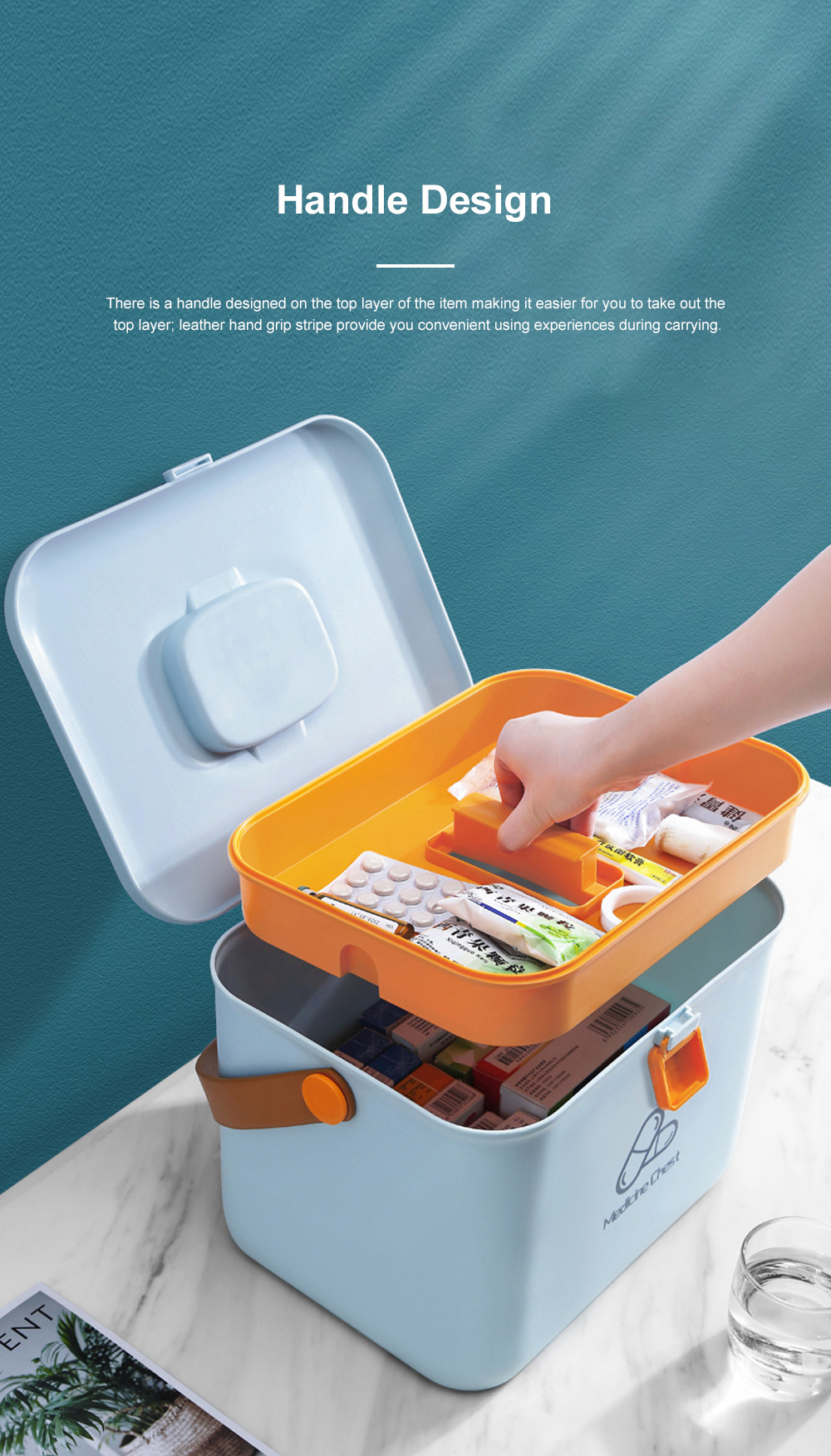 Large Capacity Portable Multilayers Household Medicine Cabinet Chest First-aid Pill Case Storage Box with Leather Handle 4