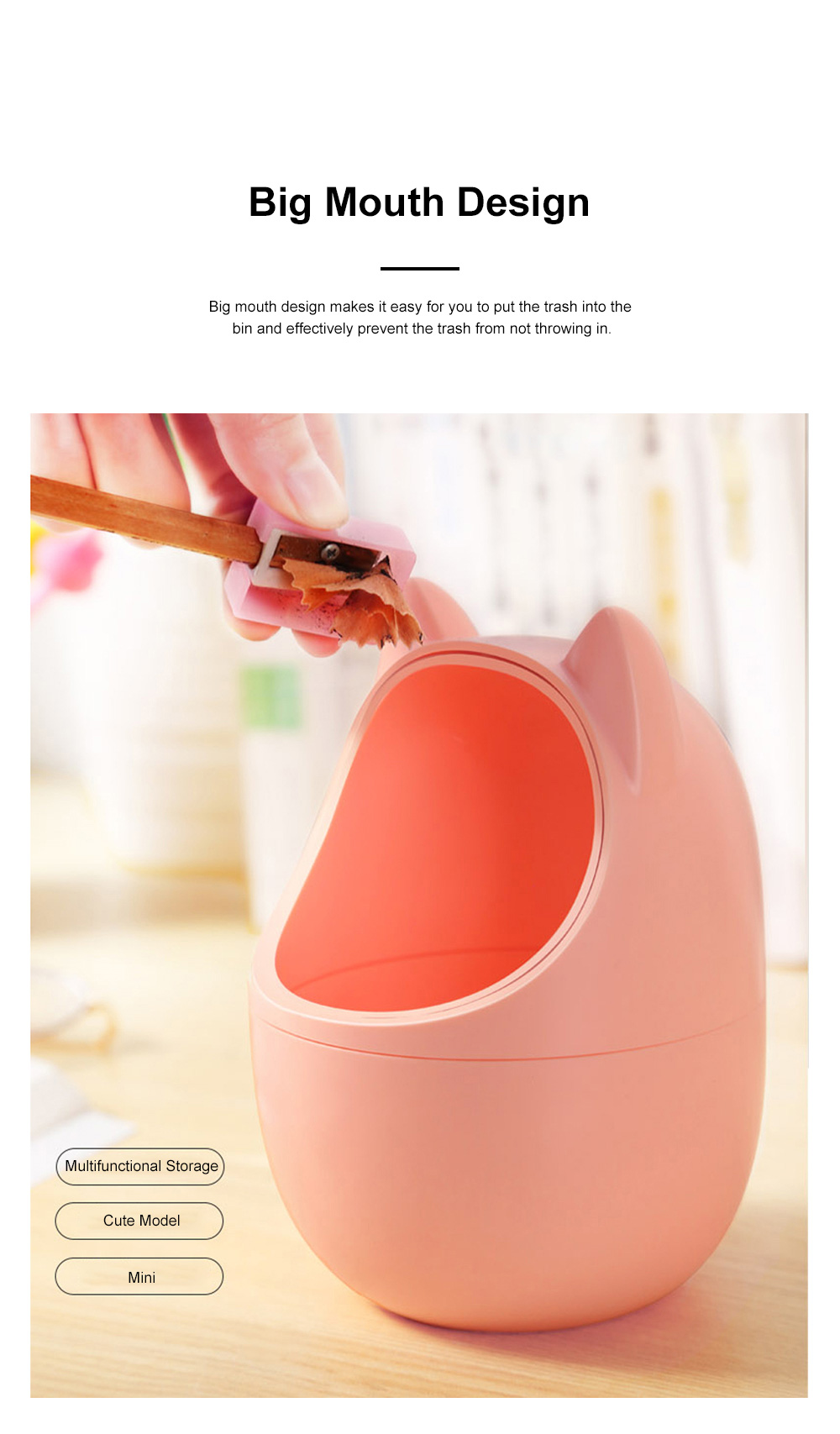 Cute Creative Cartoon Cat Small Desktop Garbage Bin Household Bedroom Office Table Storage Bucket with Cover 3