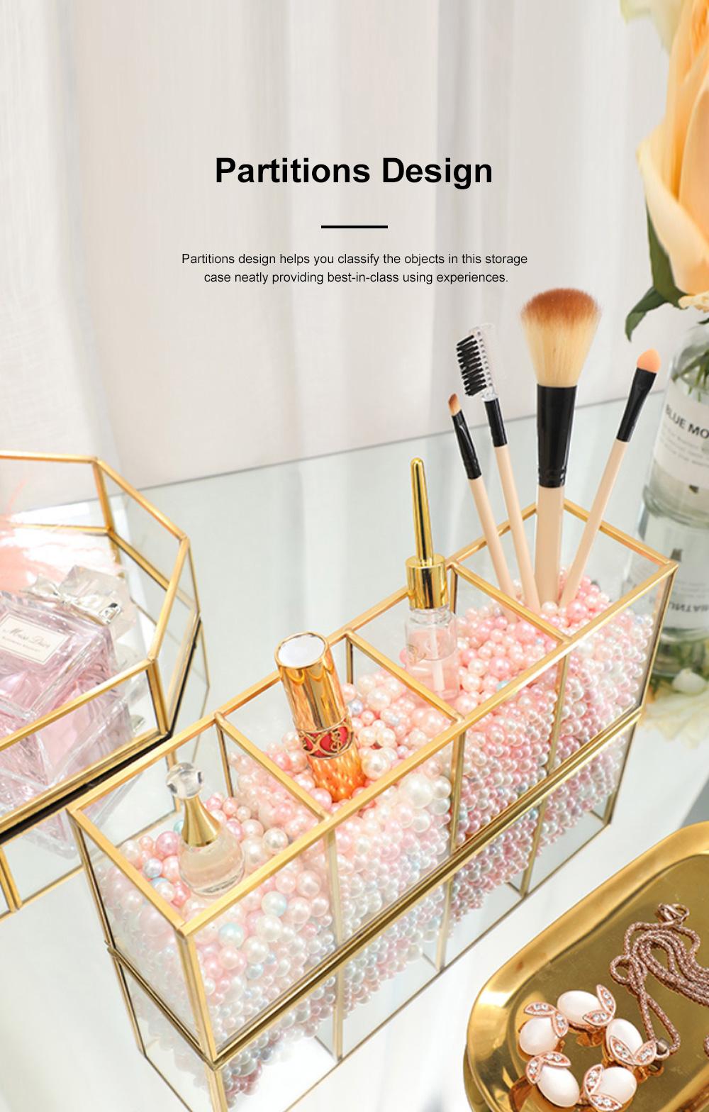 Stylish Minimalist Transparent Glass Desktop Storage Rack Jewelry Cosmetics Brushes Storage Case Box Household 3