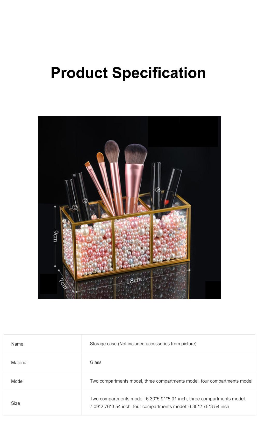 Stylish Minimalist Transparent Glass Desktop Storage Rack Jewelry Cosmetics Brushes Storage Case Box Household 6