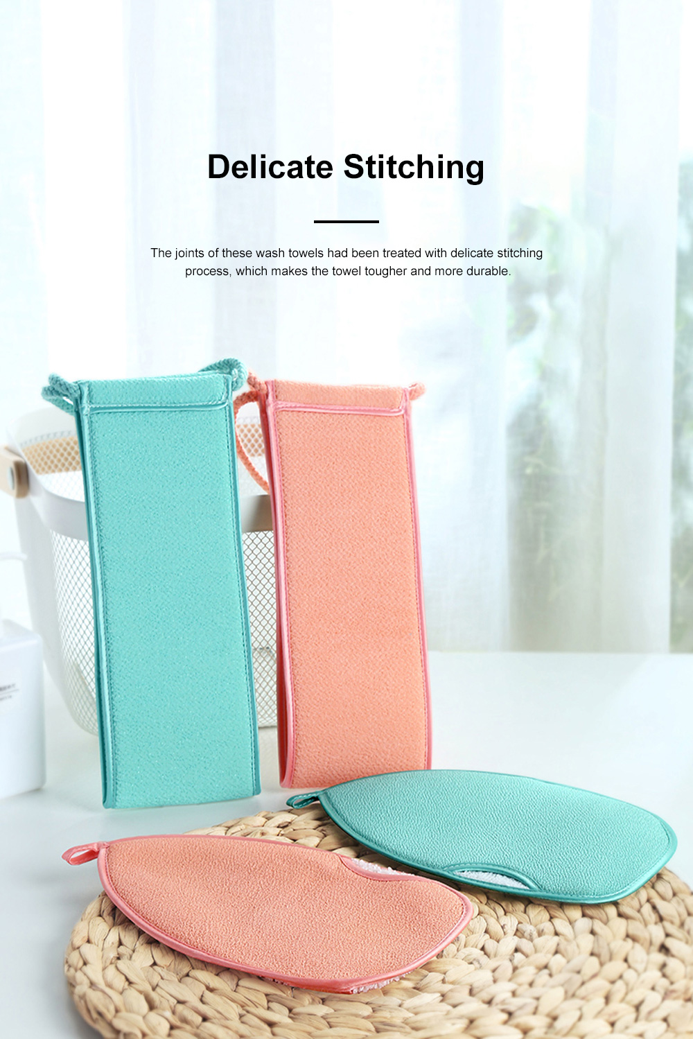 Non-toxic Soft Bamboo Fiber 2PCS Wash Towels Suit Bathing Tool with Double Textures Sling Hand Grip Design 5