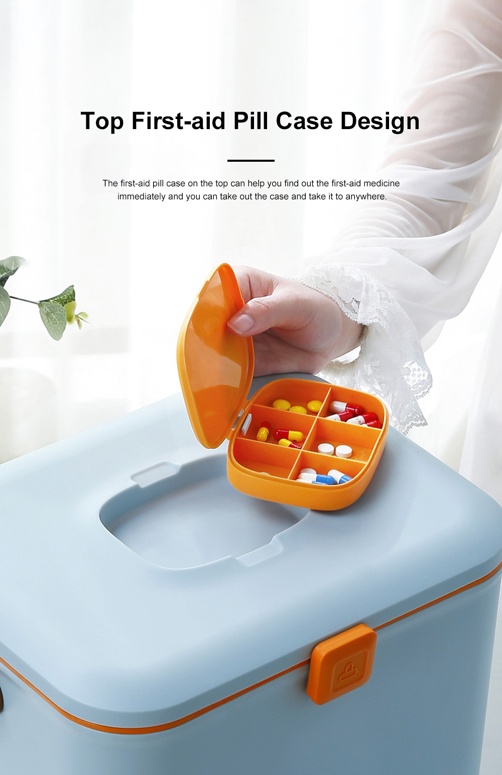 Large Capacity Portable Multilayers Household Medicine Cabinet Chest First-aid Pill Case Storage Box with Leather Handle 1