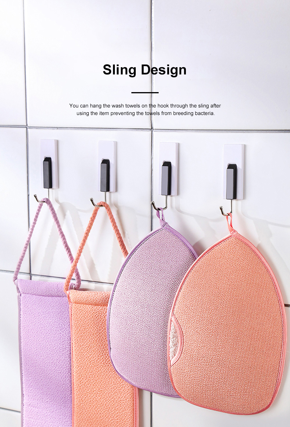 Non-toxic Soft Bamboo Fiber 2PCS Wash Towels Suit Bathing Tool with Double Textures Sling Hand Grip Design 4
