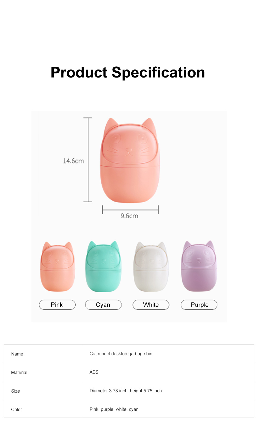 Cute Creative Cartoon Cat Small Desktop Garbage Bin Household Bedroom Office Table Storage Bucket with Cover 8