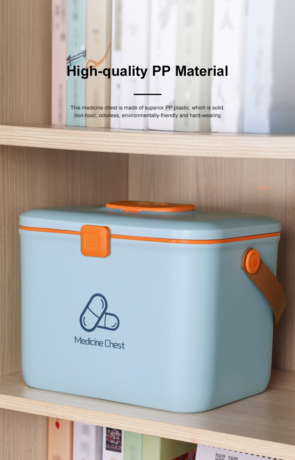 Large Capacity Portable Multilayers Household Medicine Cabinet Chest First-aid Pill Case Storage Box with Leather Handle 3