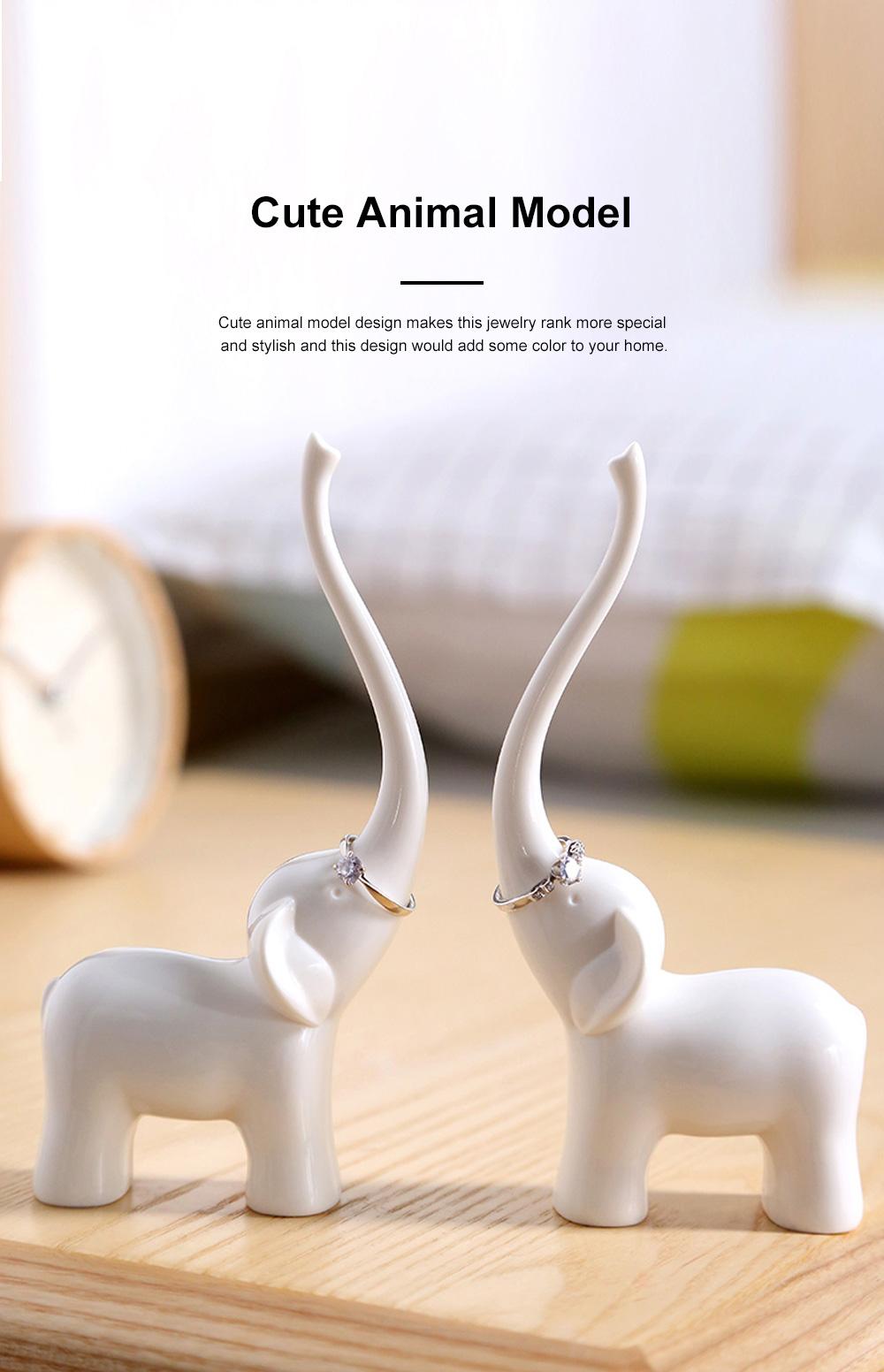 Creative Cute Elephant Swan Model Melamine Jewelry Rack Necklace Rings Storage Household Ornament Decoration 2