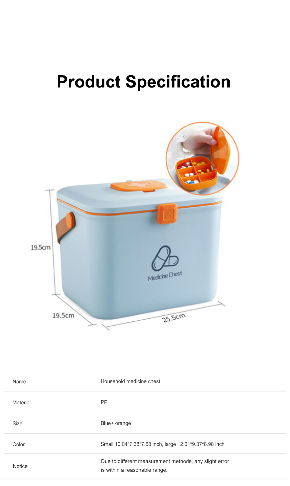 Large Capacity Portable Multilayers Household Medicine Cabinet Chest First-aid Pill Case Storage Box with Leather Handle 7