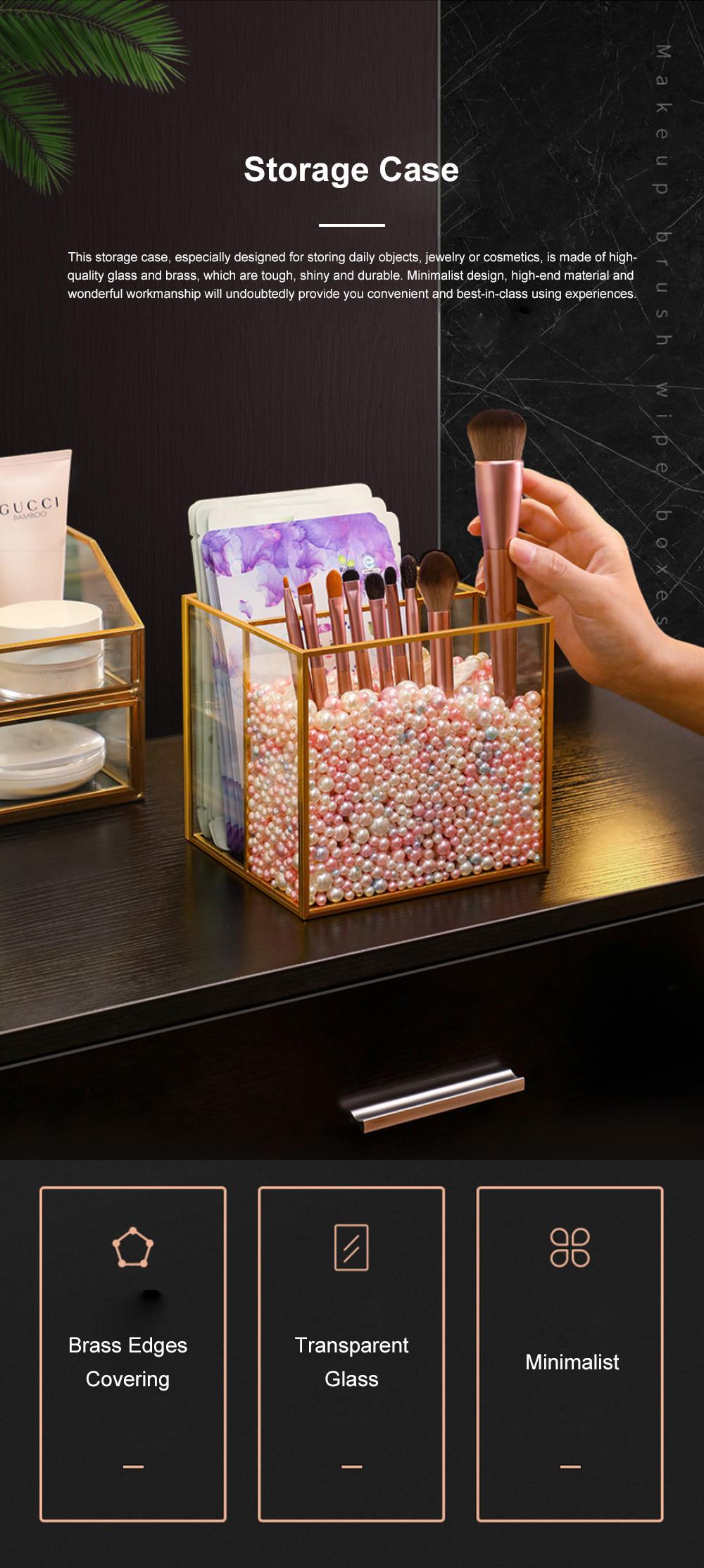 Stylish Minimalist Transparent Glass Desktop Storage Rack Jewelry Cosmetics Brushes Storage Case Box Household 0