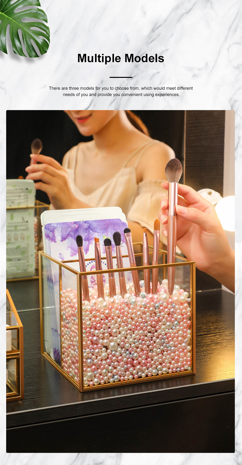 Stylish Minimalist Transparent Glass Desktop Storage Rack Jewelry Cosmetics Brushes Storage Case Box Household 1