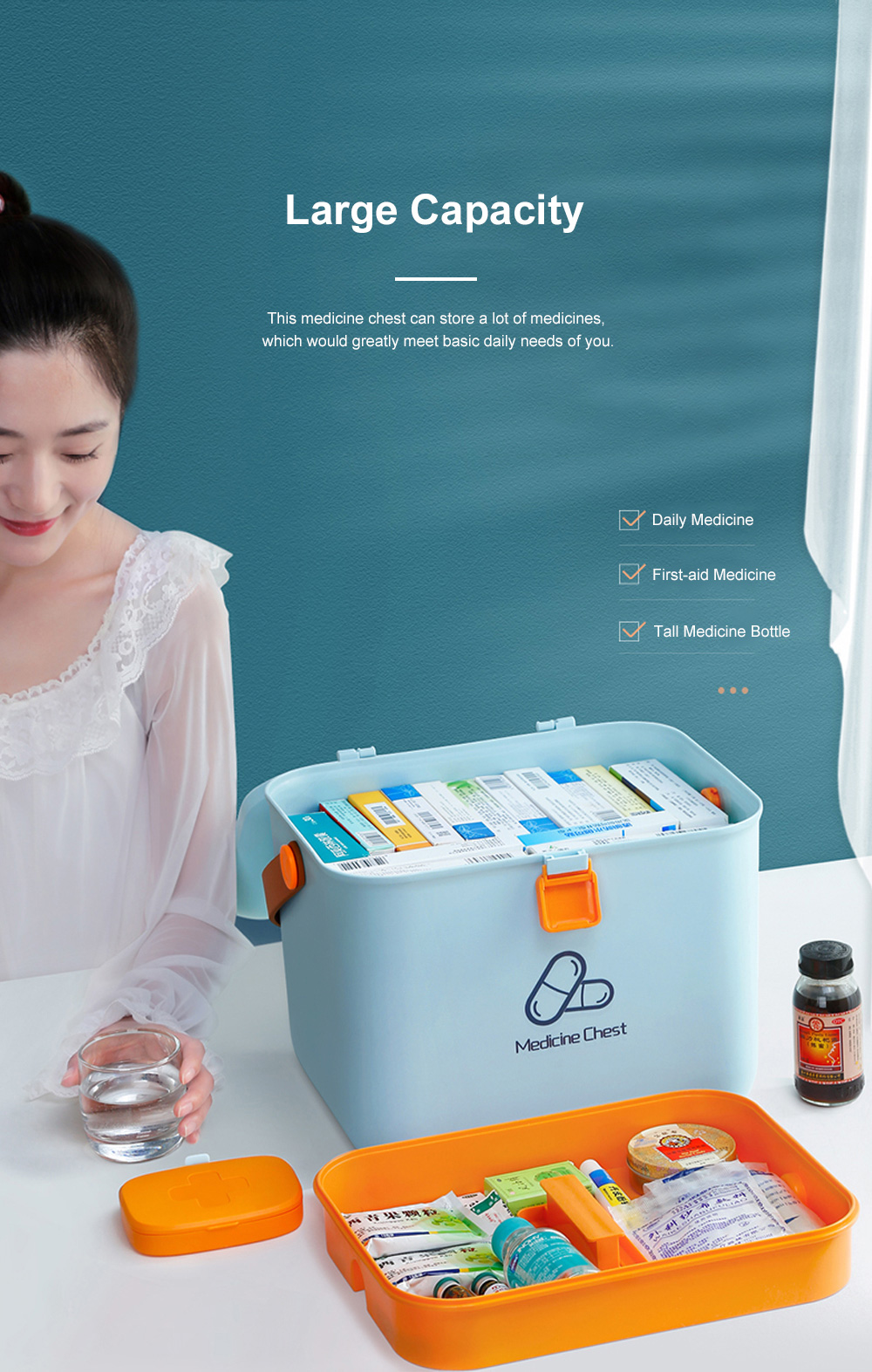 Large Capacity Portable Multilayers Household Medicine Cabinet Chest First-aid Pill Case Storage Box with Leather Handle 2