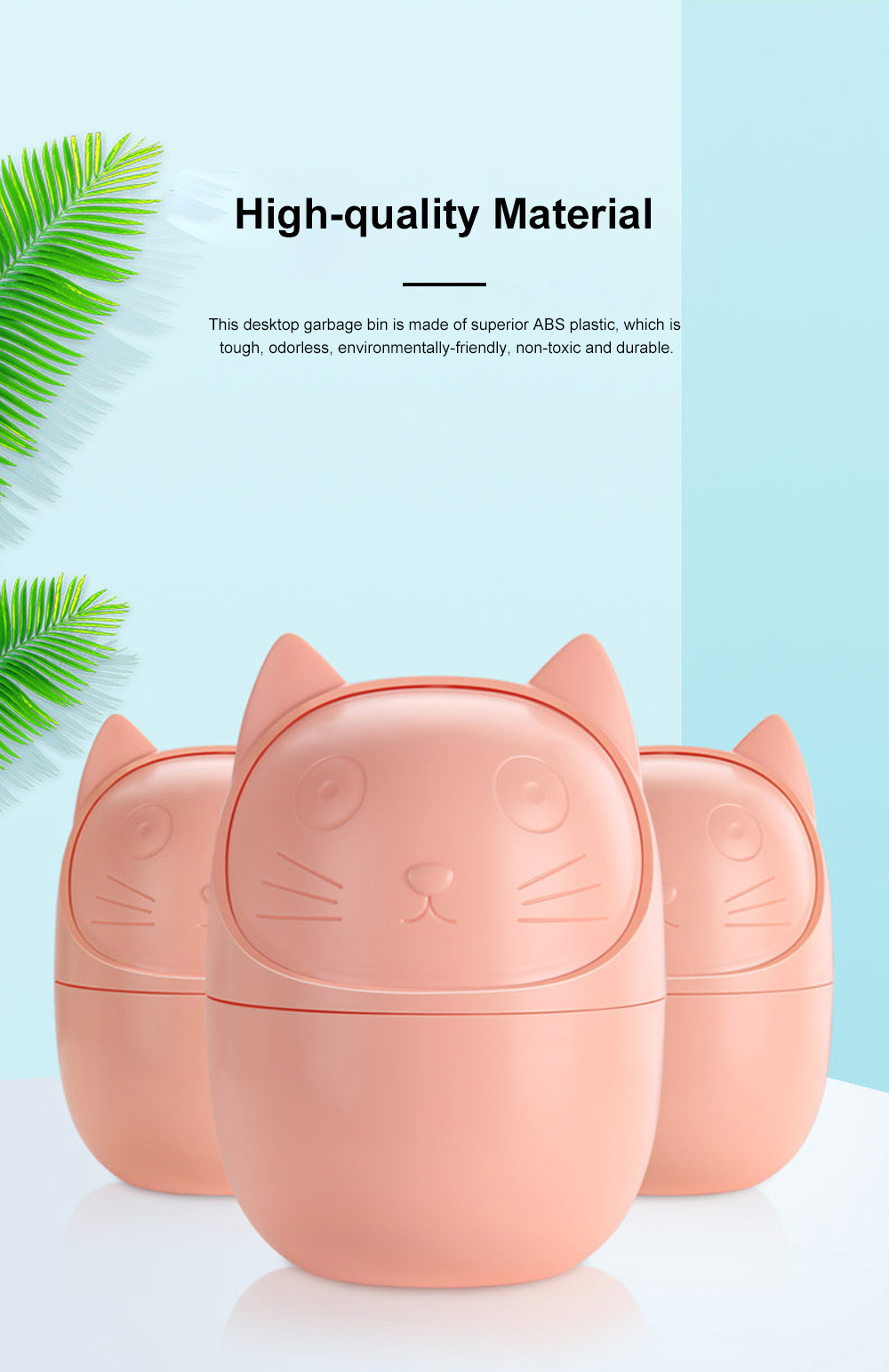 Cute Creative Cartoon Cat Small Desktop Garbage Bin Household Bedroom Office Table Storage Bucket with Cover 7
