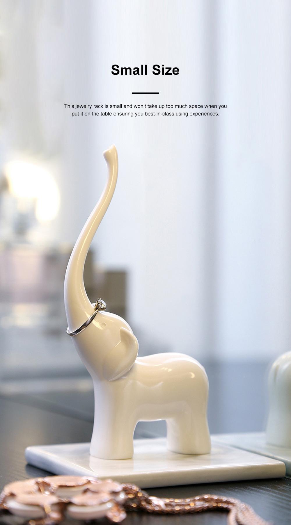 Creative Cute Elephant Swan Model Melamine Jewelry Rack Necklace Rings Storage Household Ornament Decoration 4