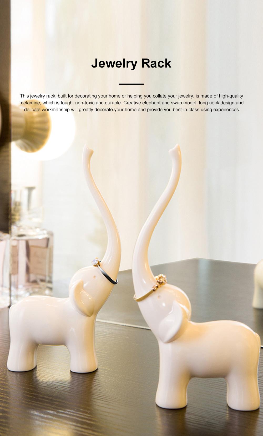 Creative Cute Elephant Swan Model Melamine Jewelry Rack Necklace Rings Storage Household Ornament Decoration 0