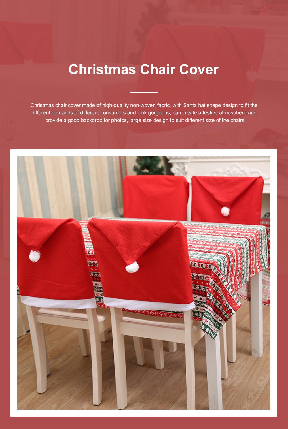 Christmas Chair Cover Santa Hat Shape Red Adornment Table Decorations Festival Atmosphere Non-woven Fabric Cover 0