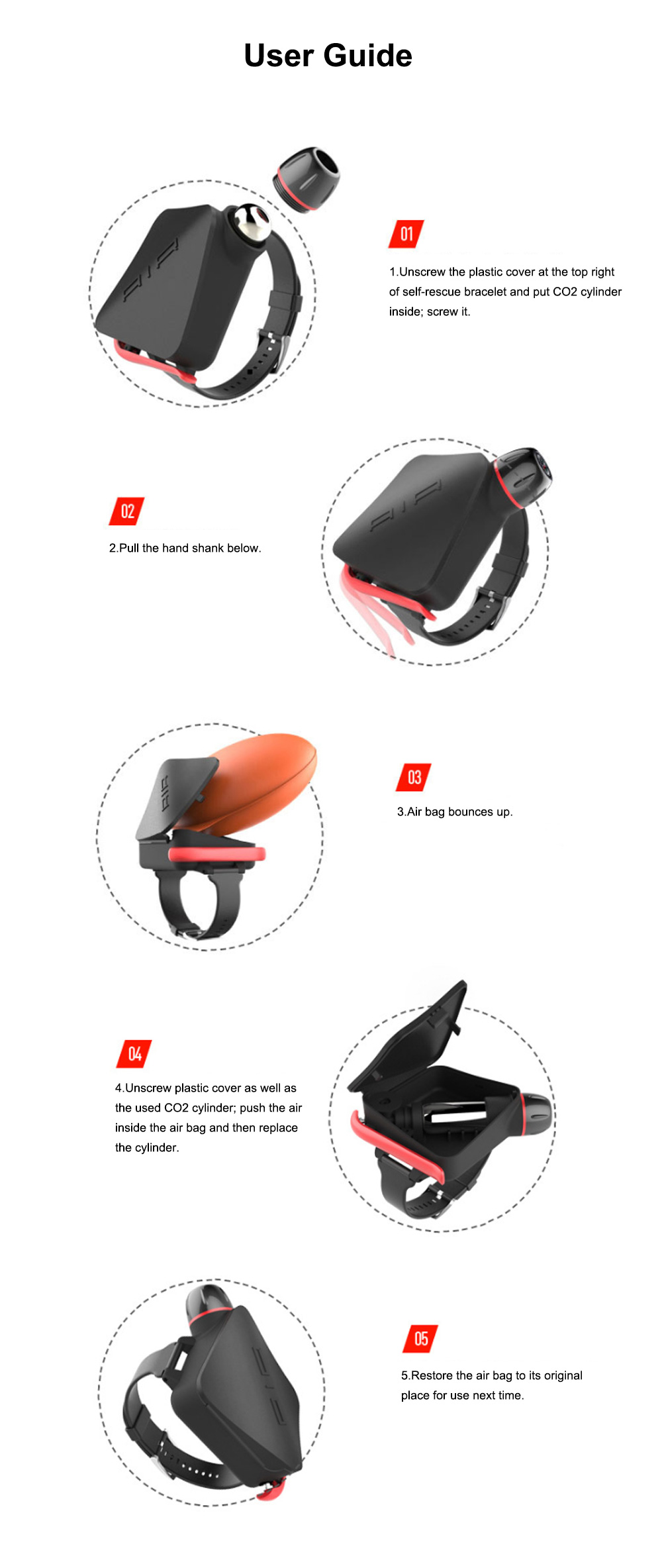 Self-rescue Bracelet with TPU Composite Air Bag for Underwater Activities Surfing Swimming Drowning Prevention Wristband Self-aid Underwater Bracelet 8