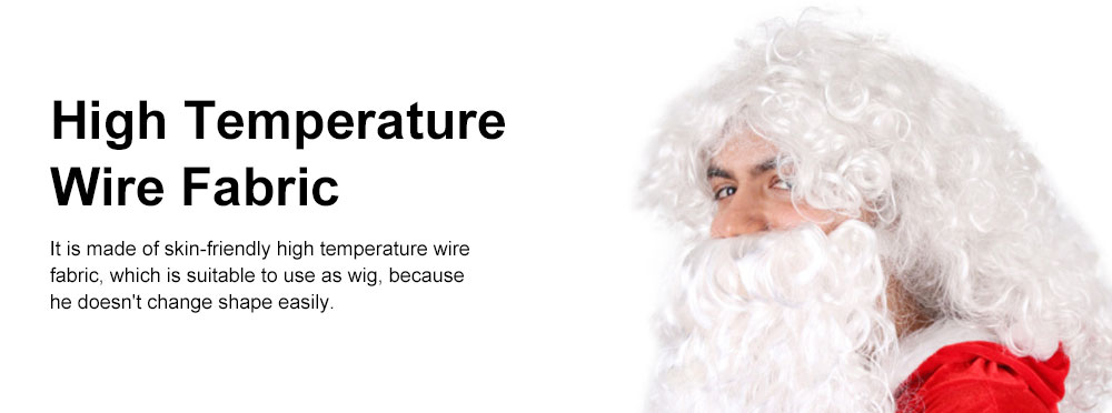 Santa Wig for Cosplayer, Button Mesh Healthy and Safety Long Curly White Hair High Temperature Wire Bearded Wig 4