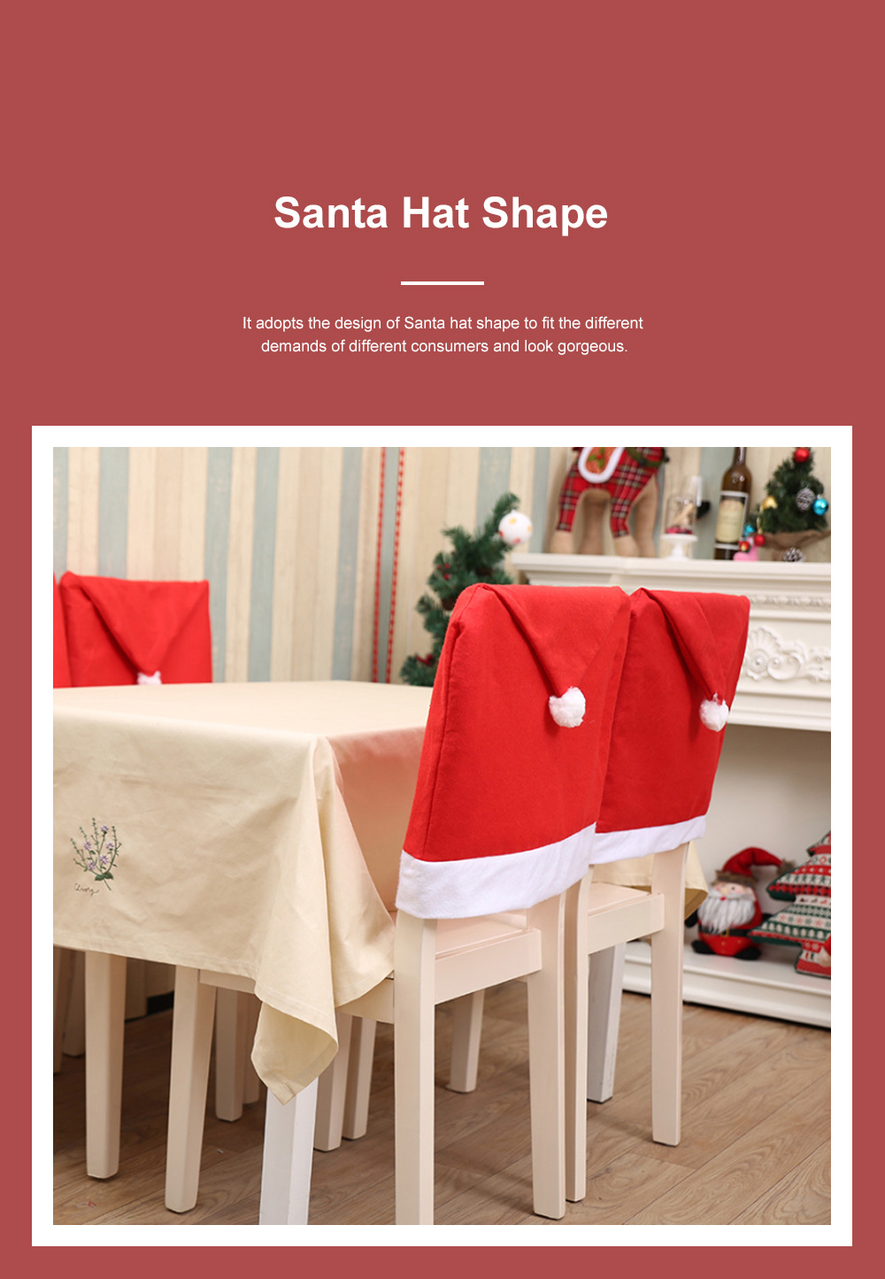 Christmas Chair Cover Santa Hat Shape Red Adornment Table Decorations Festival Atmosphere Non-woven Fabric Cover 4