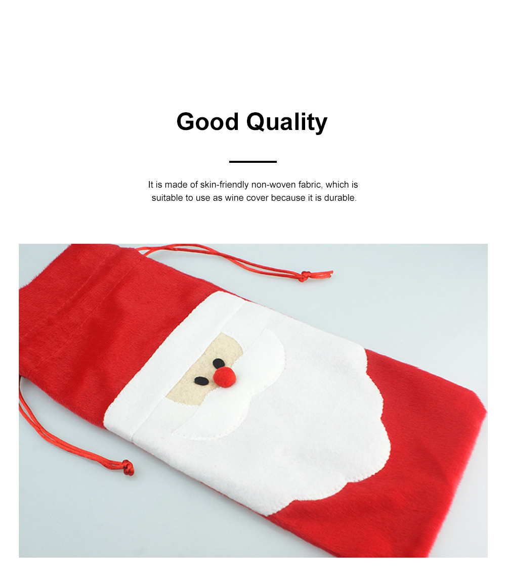 Wine Bottle Cover Christmas Santa Embroidery Whole Package Red Wine Decoration Draw String Christmas Ornament 1