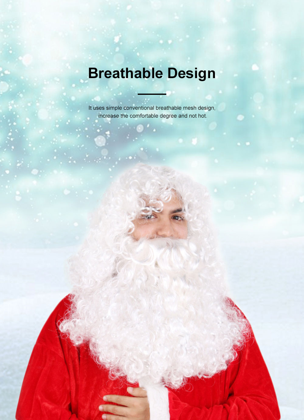 Santa Wig for Cosplayer, Button Mesh Healthy and Safety Long Curly White Hair High Temperature Wire Bearded Wig 2
