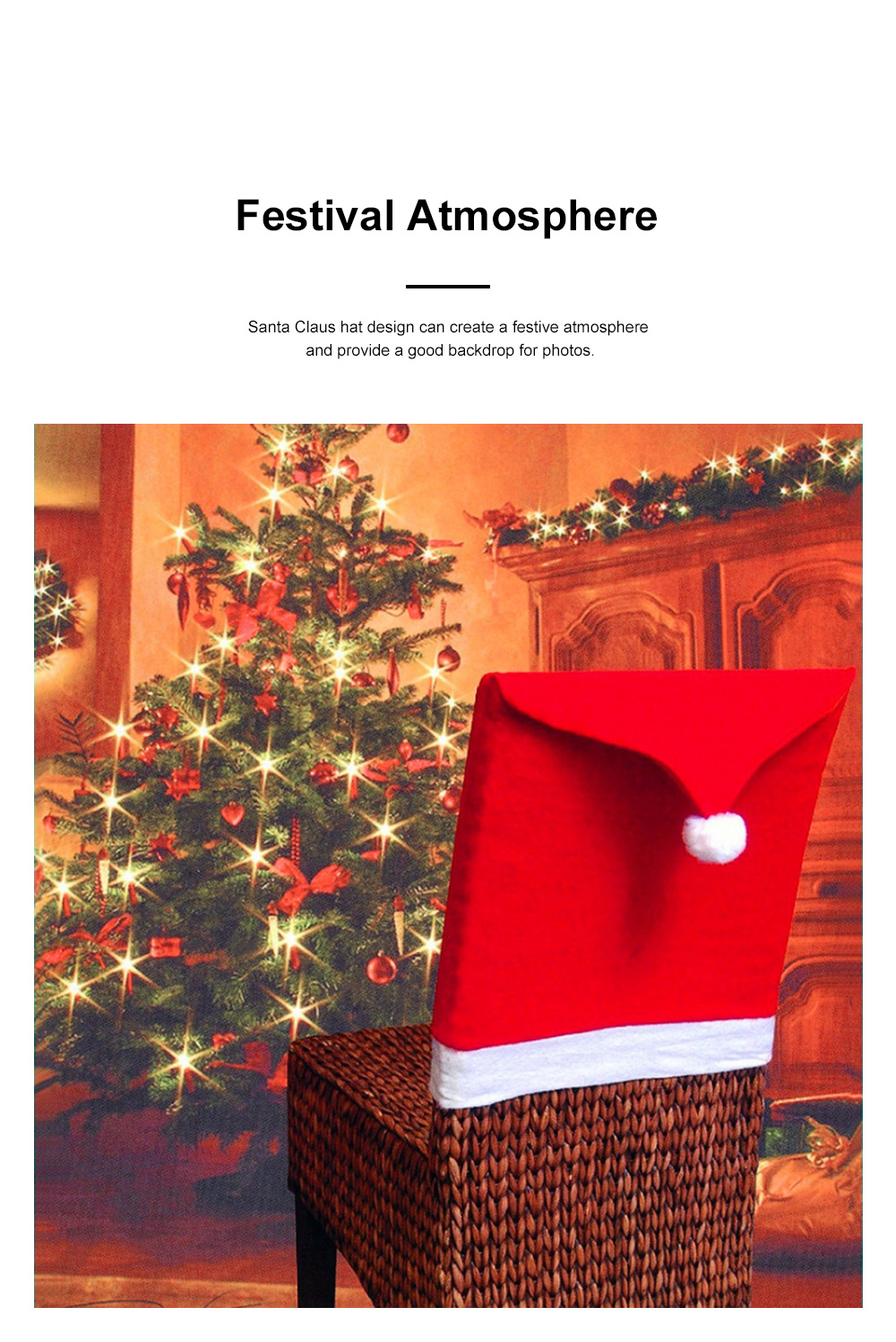 Christmas Chair Cover Santa Hat Shape Red Adornment Table Decorations Festival Atmosphere Non-woven Fabric Cover 1