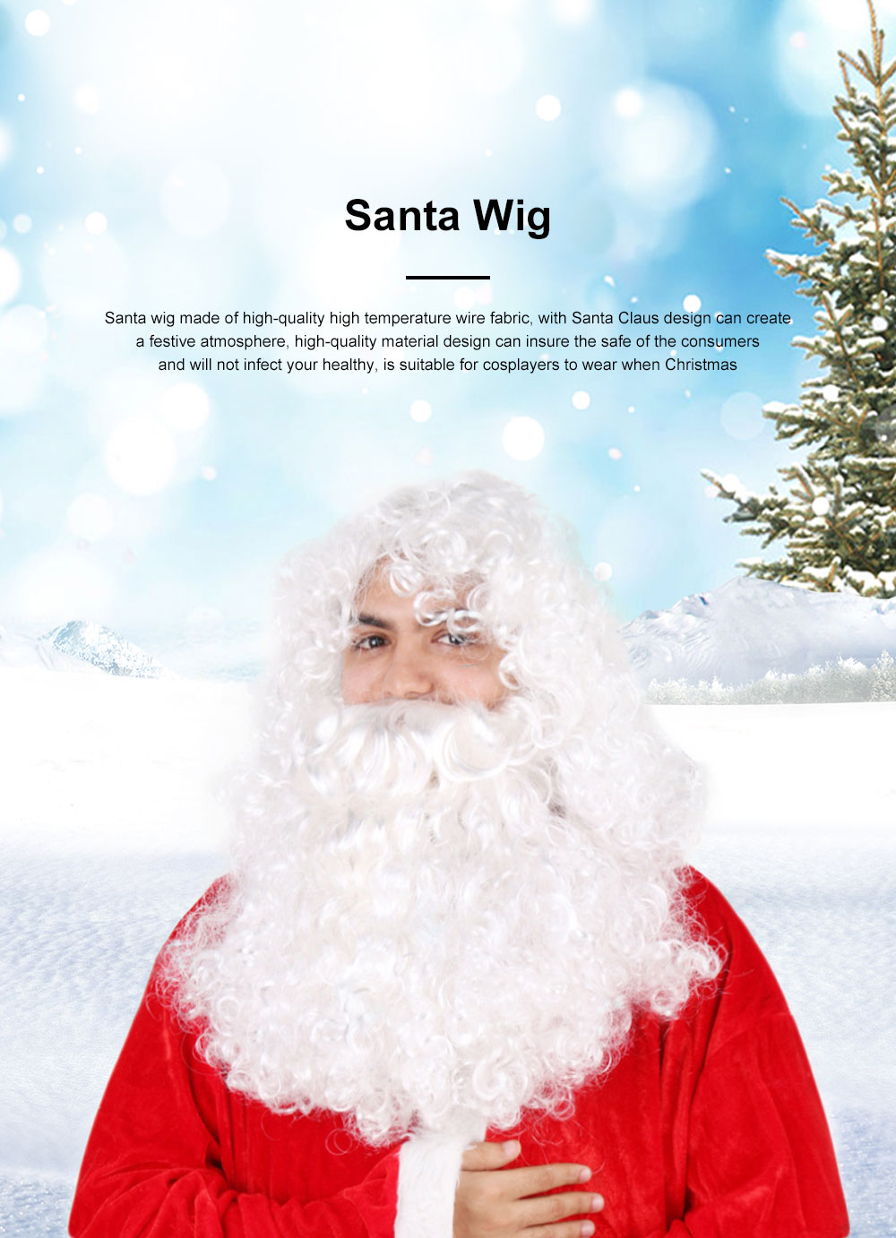 Santa Wig for Cosplayer, Button Mesh Healthy and Safety Long Curly White Hair High Temperature Wire Bearded Wig 0