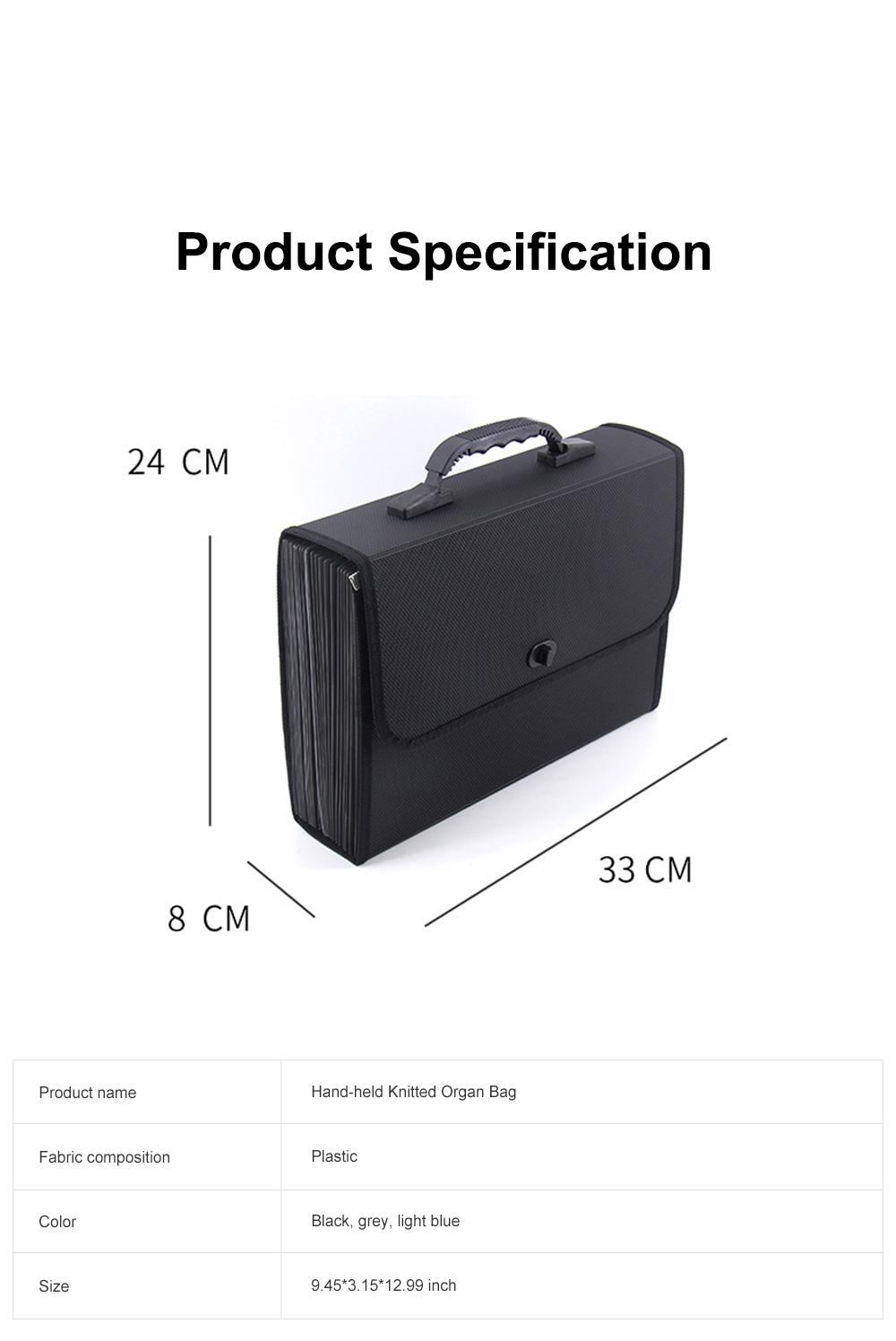 Portable Hand-held Knitted Organ Bag 26-tier Multi-tier Folders Office File Bag Paper File Bag 6