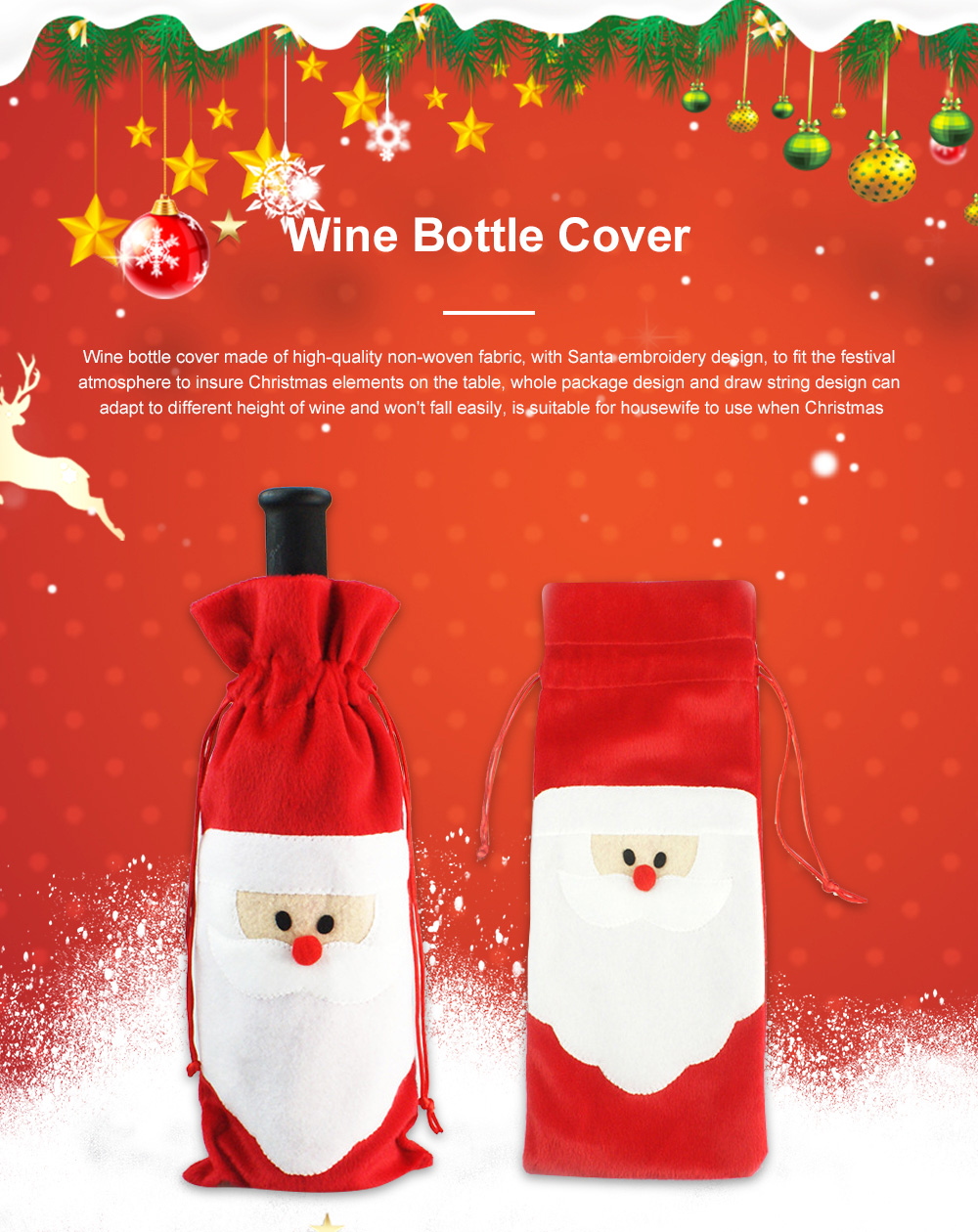 Wine Bottle Cover Christmas Santa Embroidery Whole Package Red Wine Decoration Draw String Christmas Ornament 0