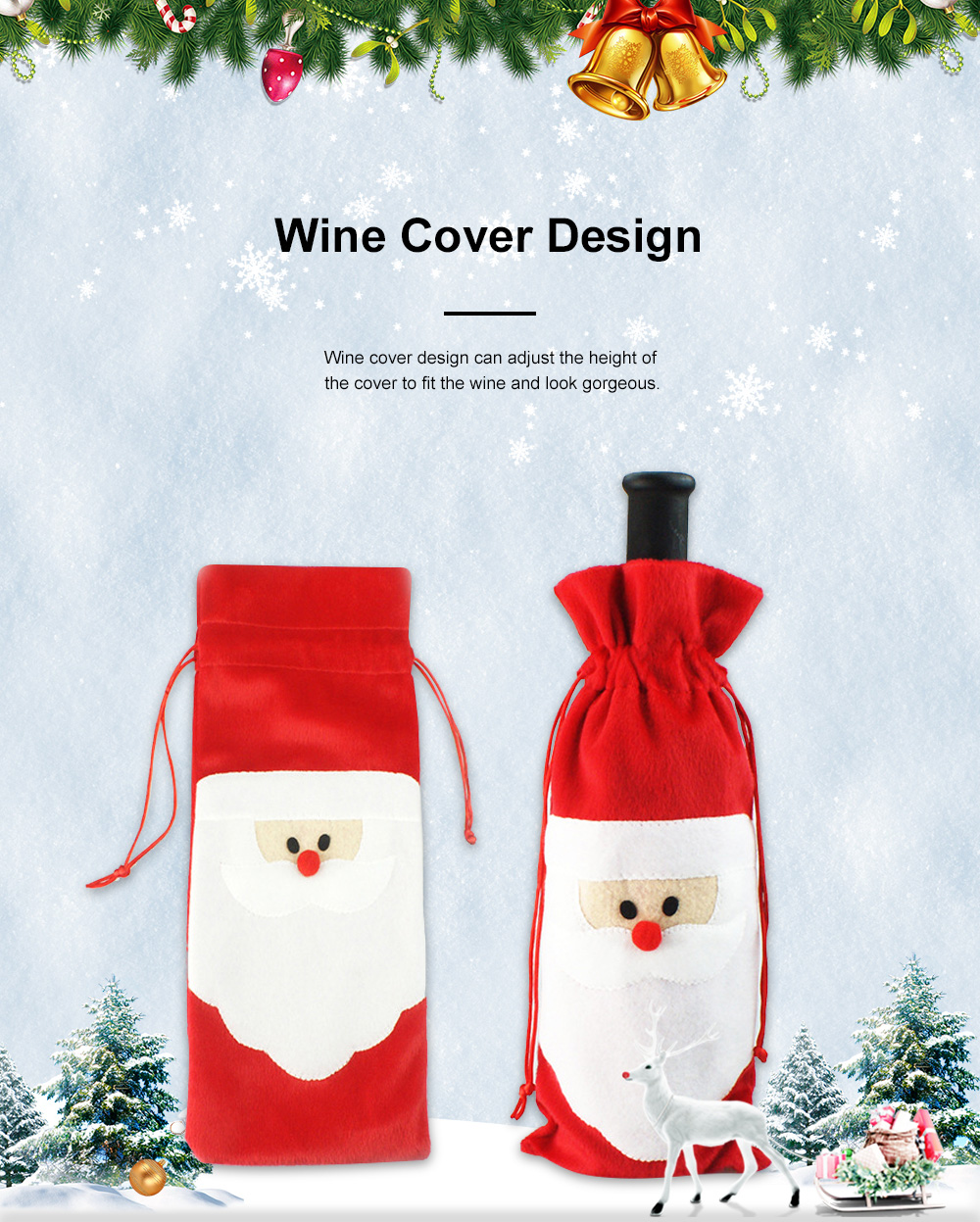 Wine Bottle Cover Christmas Santa Embroidery Whole Package Red Wine Decoration Draw String Christmas Ornament 2