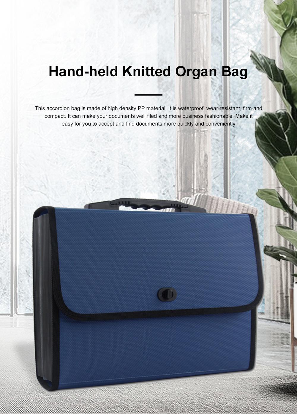 Portable Hand-held Knitted Organ Bag 26-tier Multi-tier Folders Office File Bag Paper File Bag 0