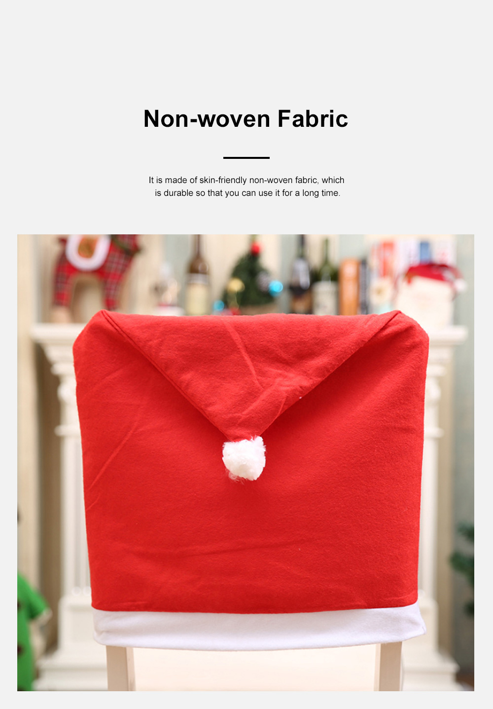 Christmas Chair Cover Santa Hat Shape Red Adornment Table Decorations Festival Atmosphere Non-woven Fabric Cover 5