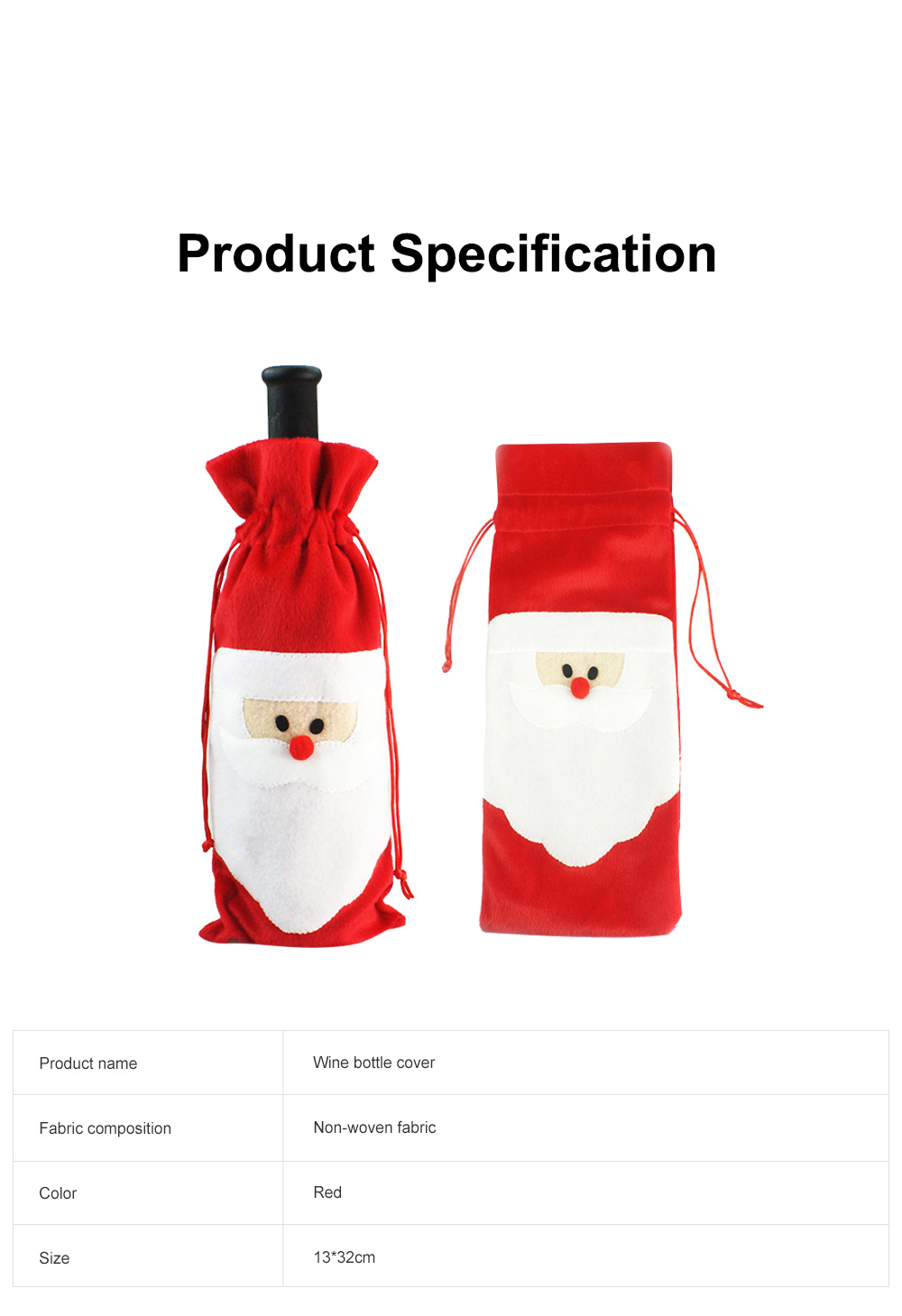 Wine Bottle Cover Christmas Santa Embroidery Whole Package Red Wine Decoration Draw String Christmas Ornament 6