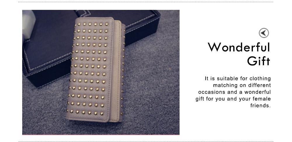 Long Double Cover Clutch, New Fashion Women wallet,European and American Pop Pun Style Rivet Handbag 6
