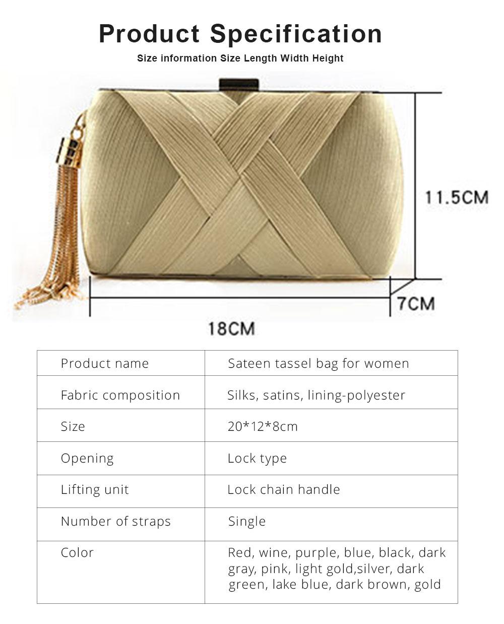 Sateen Tassel Bag for Women Evening Bag Lady's Bridal Dinner Bag 7