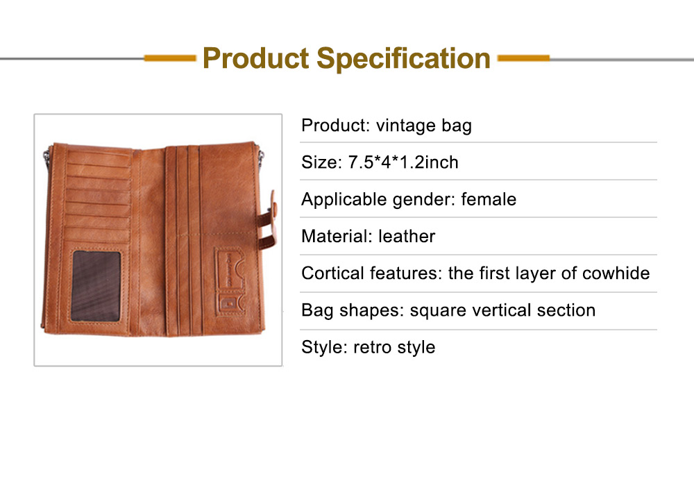 Vintage Double Zipper Long Wallet, Fashion Wallet for Ladies,High-quality First Layer of Cowhide Leather Clutch 7