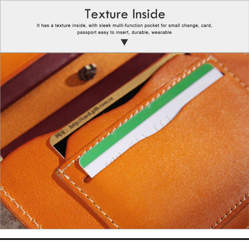 Handmade Genuine Leather Wallet, Female Multifunctional Bag with Passport, ID Holder, Leather Cowhide Passport Bag 4
