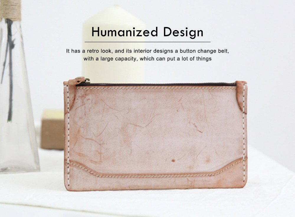 2019 New Long Wallet Vintage Handmade Vegetable Tanned Ladies Clutch, Real Leather Fog Wax Wallet 1
