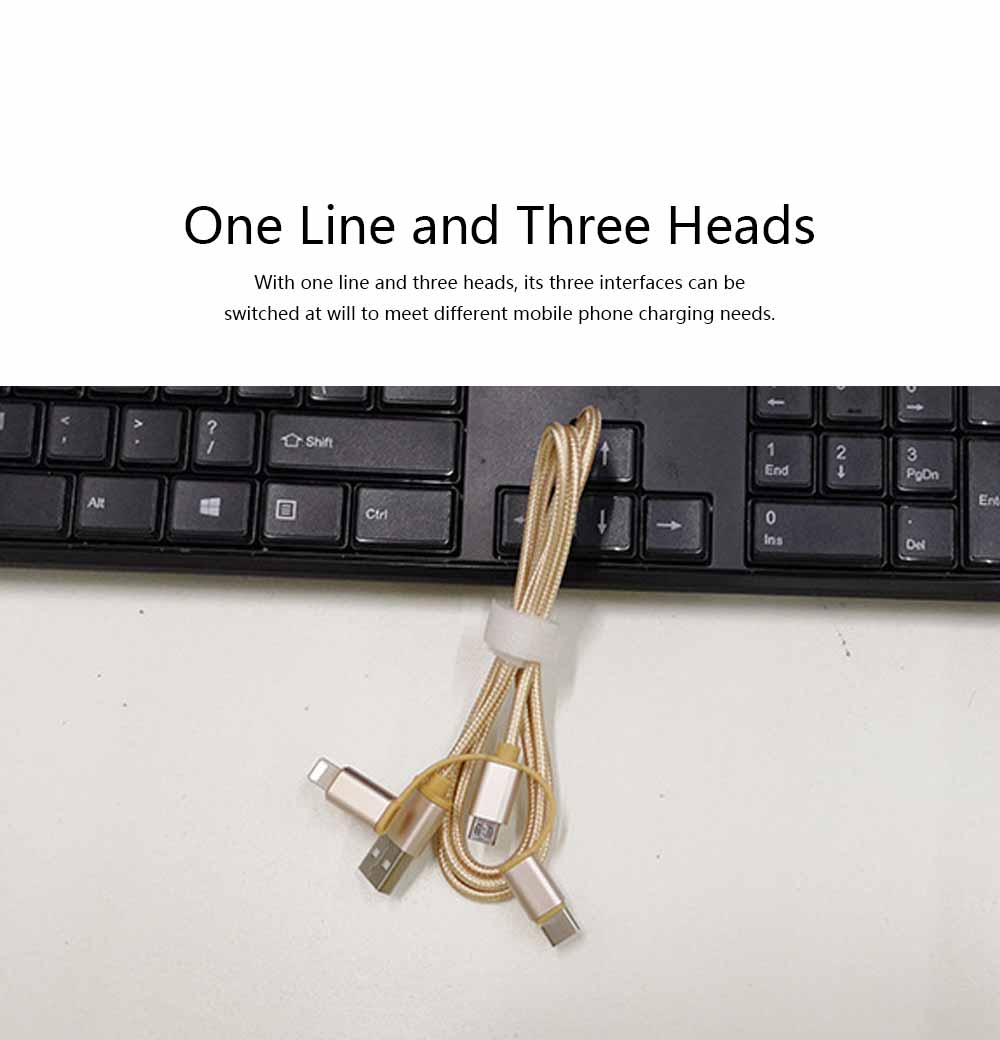 One Drag Three Data Cable, Braided Line Apple Android Data Cable, Three-in-one Nylon Mobile Phone Charging Cable 3