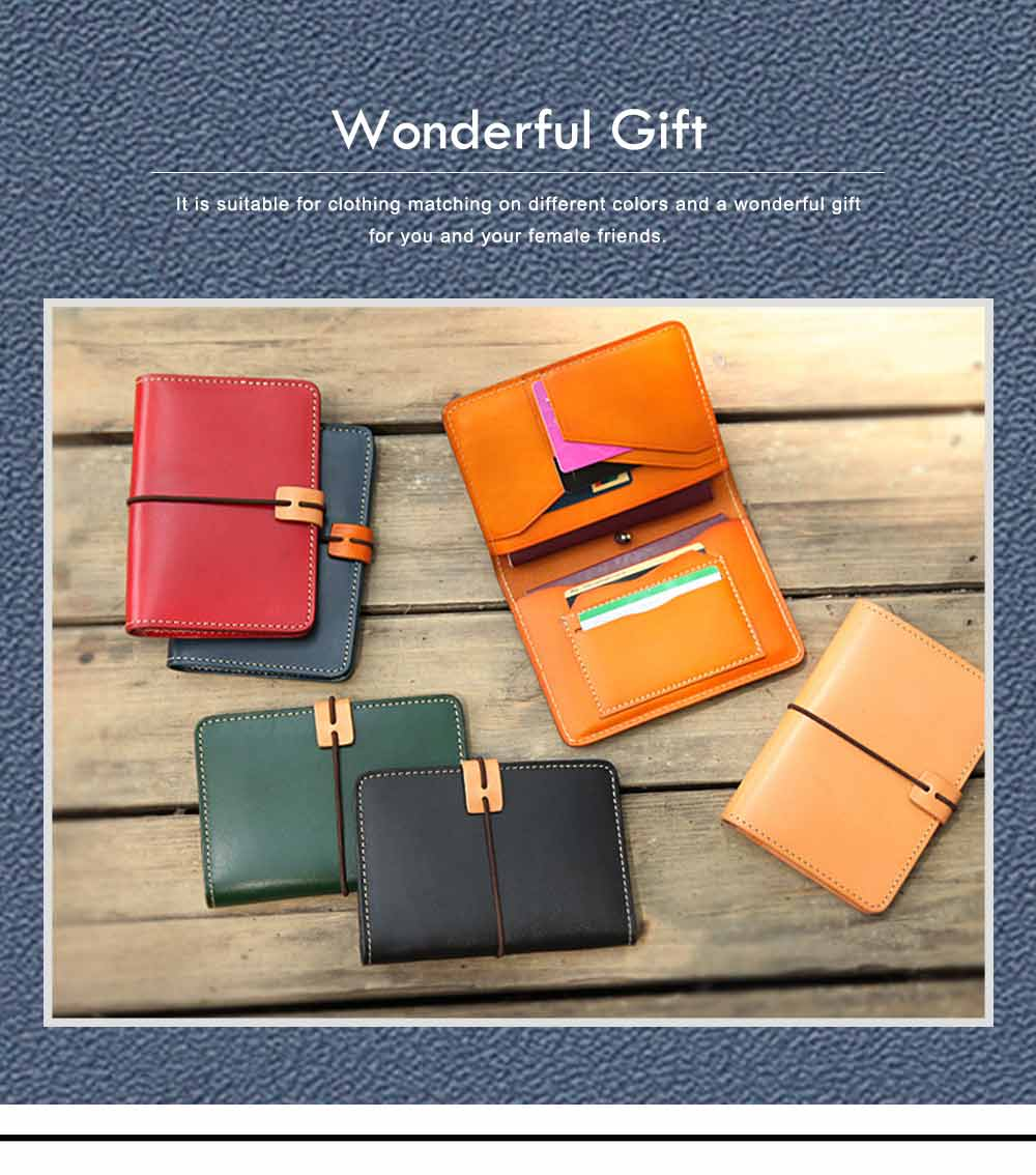 Handmade Genuine Leather Wallet, Female Multifunctional Bag with Passport, ID Holder, Leather Cowhide Passport Bag 2
