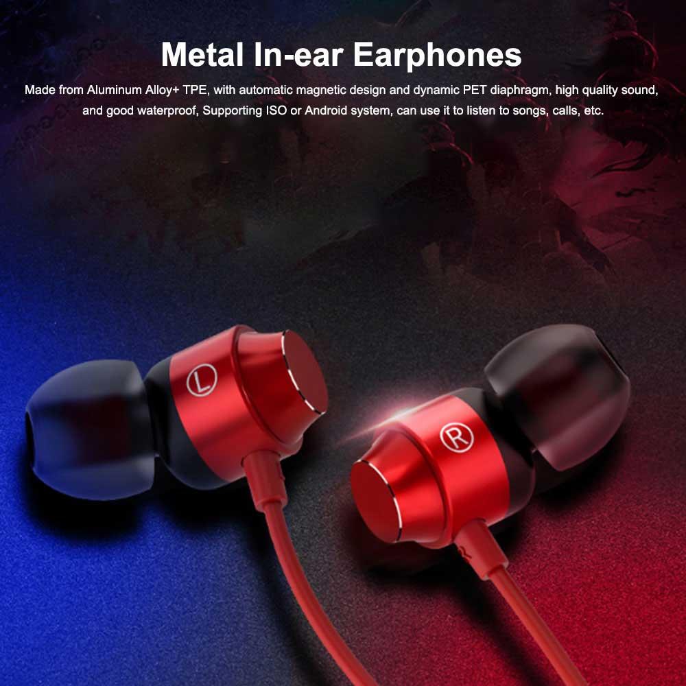 Metal In-ear Earphones Heavy Bass Magic Sound Mobile Phone Computer Universal Headphones, Sports Magnetic Suction Ear Metal Bluetooth Headset 0