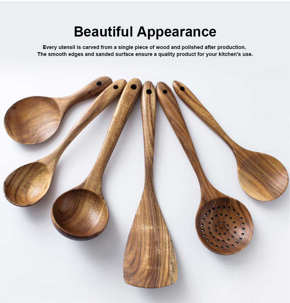 Healthy Cooking & Service 6-piece Utensil Set, Natural Solid Wood Spoon & Spatula, Durable and Eco-friendly Kitchen Tools 3