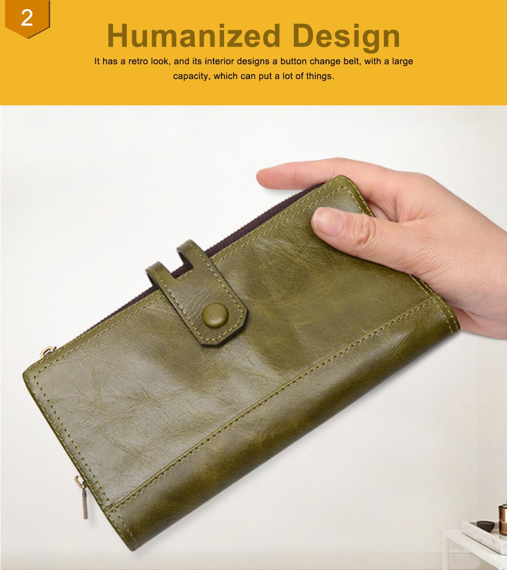 Vintage Double Zipper Long Wallet, Fashion Wallet for Ladies,High-quality First Layer of Cowhide Leather Clutch 3