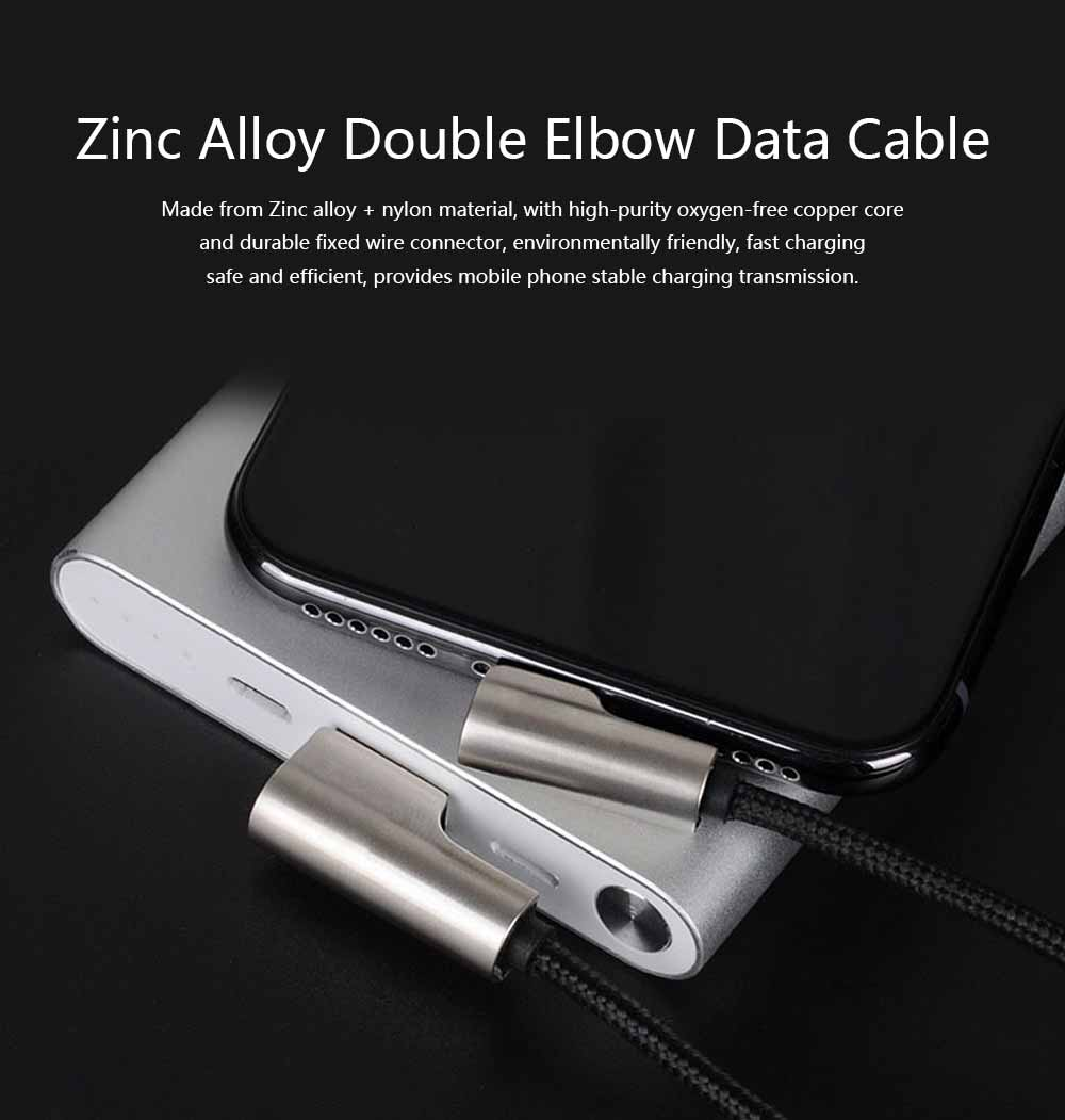 Zinc Alloy Double Elbow Data Cable, iPhone 8 Apple X Mobile Phone Charging Cable Mobile Phone Charging Data Cable 0