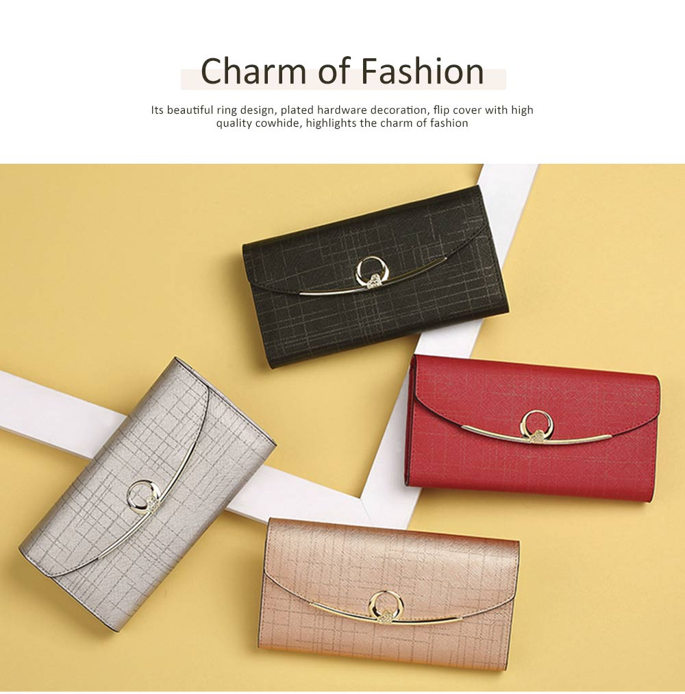Women's Long Clutch for Shopping Dating Party, Korean Large Capacity Female Wallet, Imported Vegetable Tanned Cowhide Clutch 1
