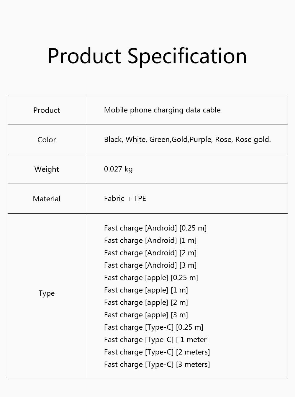 Customized 1 Meter 2 Meters 3 Meters Universal Data Line, Suitable for Apple Millet Huawei Mobile Phone Charging Line 2.4A Power Cable 7
