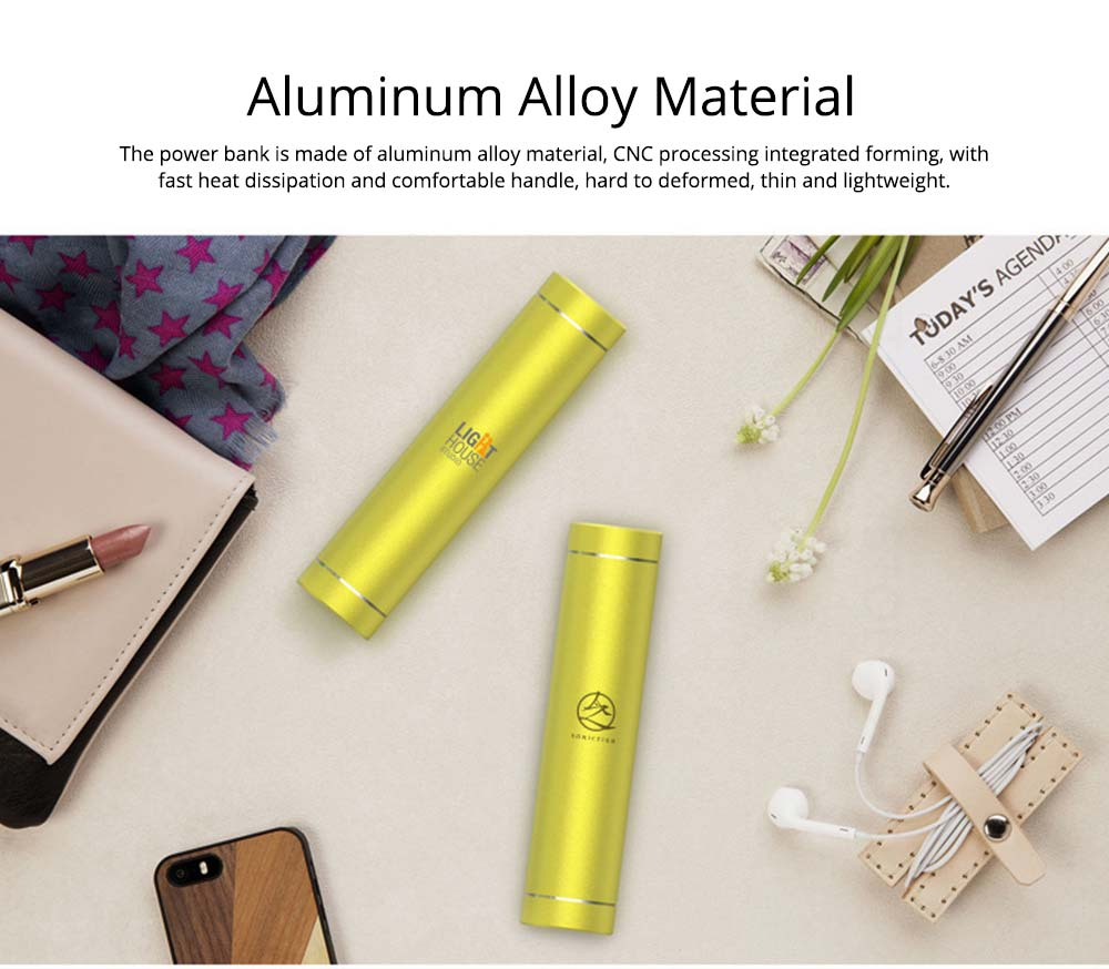 Exquisite Phone Charging Aluminum Alloy Cylinder Portable External Battery Charger USB Socket Power Bank for Cell Phone 3