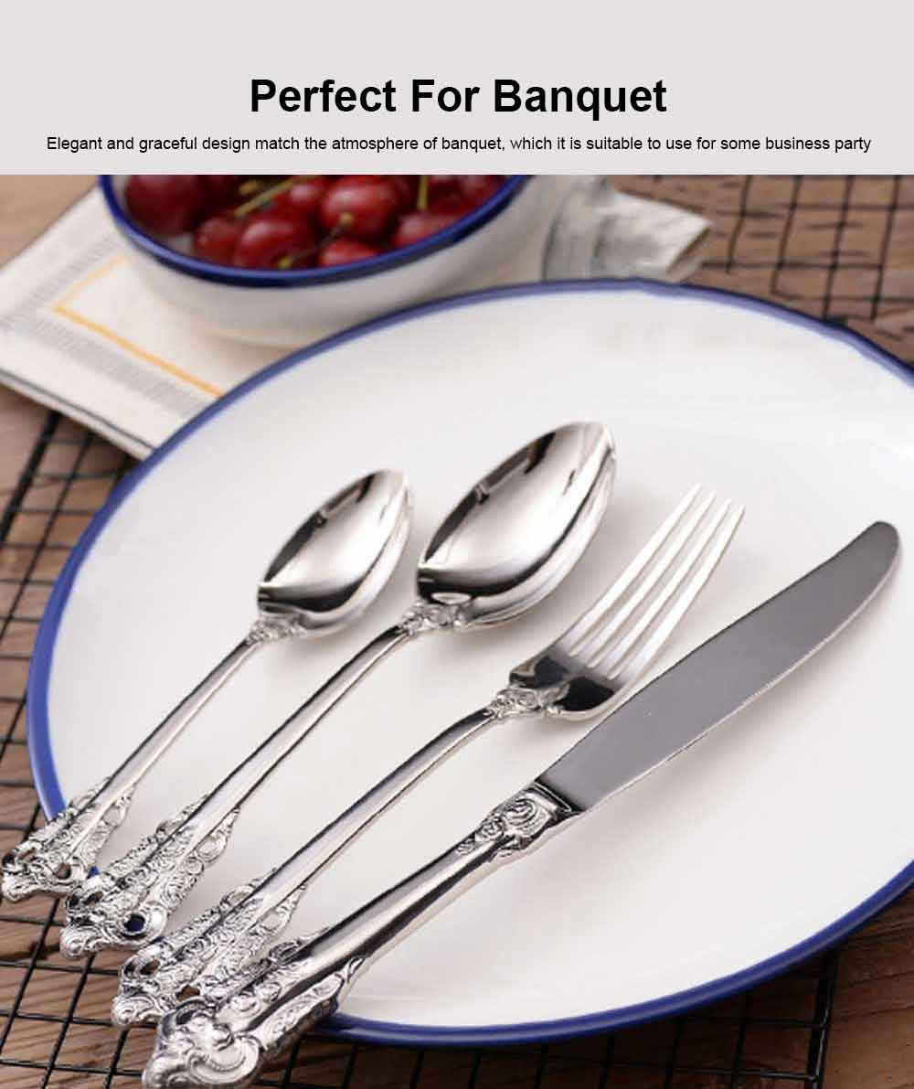 Professional Banquet Dinnerware High Quality Delicate 18/0 Stainless Steel Flatware, Sliverware, Goldware, Mirror Polished Cutlery Set 1