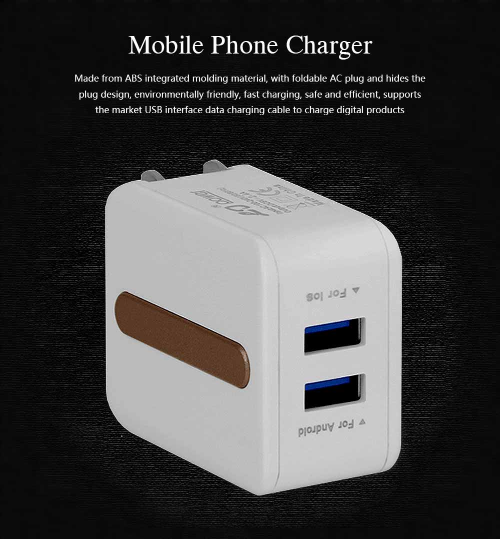 New Mobile Phone Charger, Foldable Multi-port USB Charging Plug Smart Phone Universal Phone Charger 0